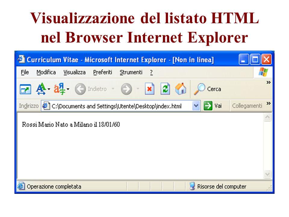Visualizzazione del listato HTML nel Browser Internet Explorer