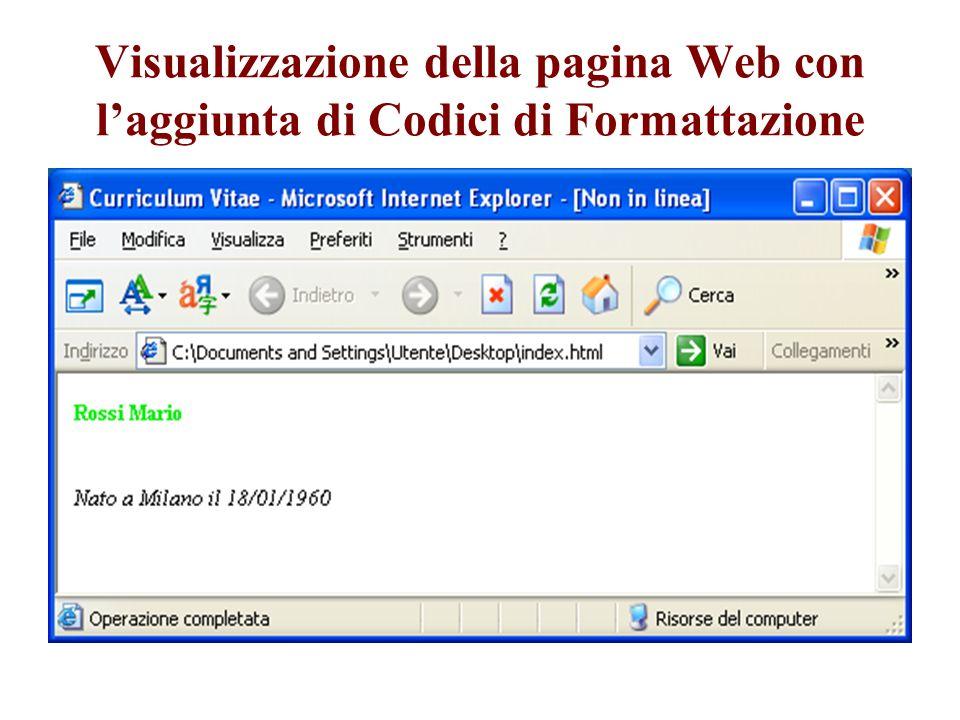 Visualizzazione della pagina Web con laggiunta di Codici di Formattazione