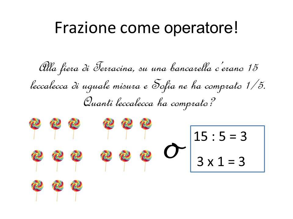 Frazione come operatore ! Alla fiera di Terracina, su una bancarella cerano 15 leccalecca di uguale misura e Sofia ne ha comprato 1/5. Quanti leccalec