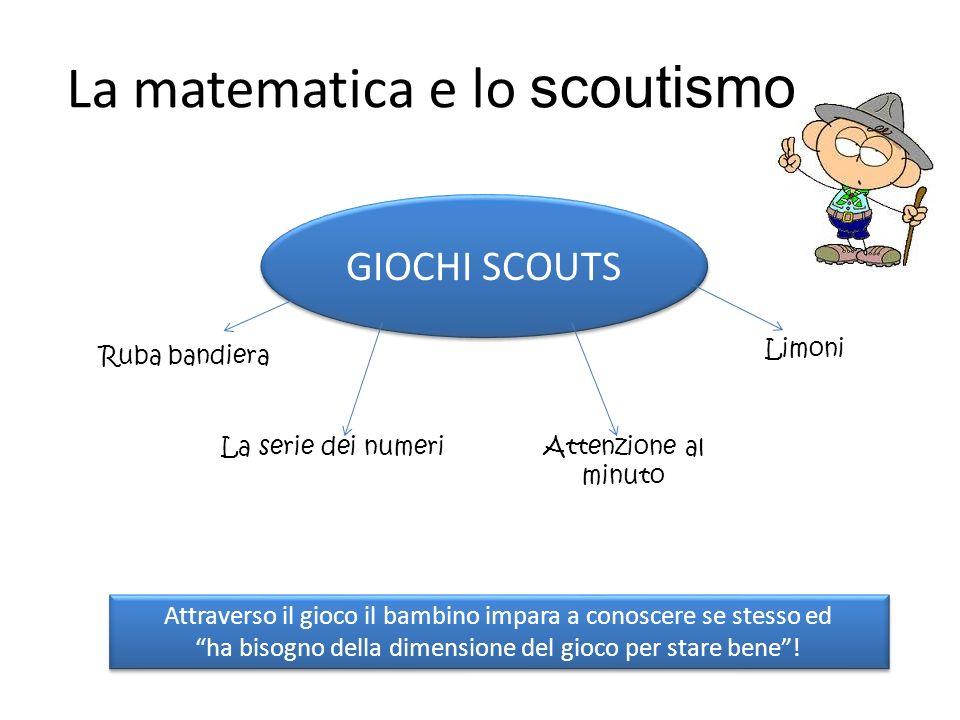 La matematica e lo scoutismo GIOCHI SCOUTS Ruba bandiera La serie dei numeriAttenzione al minuto Attraverso il gioco il bambino impara a conoscere se stesso ed ha bisogno della dimensione del gioco per stare bene.