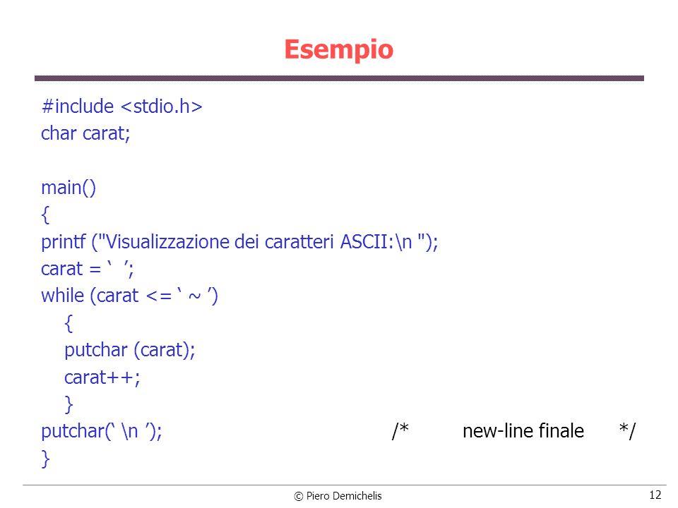 © Piero Demichelis 12 Esempio #include char carat; main() { printf (