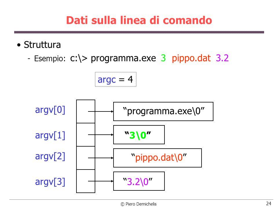 © Piero Demichelis 24 Dati sulla linea di comando Struttura Esempio: c:\> programma.exe 3 pippo.dat 3.2 argc = 4 argv[0] argv[1] argv[2] argv[3] prog