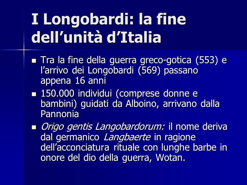I Longobardi: la fine dellunità dItalia Tra la fine della guerra greco-gotica (553) e larrivo dei Longobardi (569) passano appena 16 anni Tra la fine