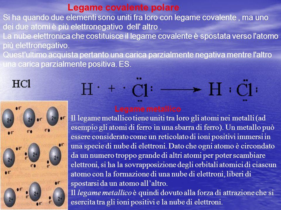 Legame covalente polare Si ha quando due elementi sono uniti fra loro con legame covalente, ma uno dei due atomi è più elettronegativo dell' altro. La