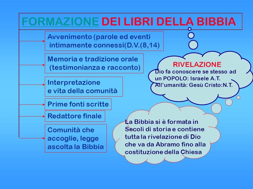 FORMAZIONEFORMAZIONE DEI LIBRI DELLA BIBBIA La Bibbia si è formata in Secoli di storia e contiene tutta la rivelazione di Dio che va da Abramo fino al