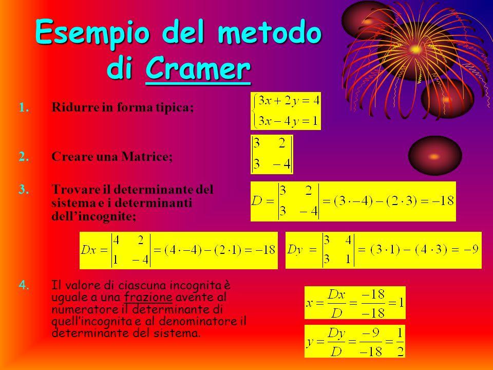 METODO DI CRAMER Per prima cosa si deve costruire una matrice: entità matematica costituita da un insieme di numeri, disposti ordinatamente secondo ri