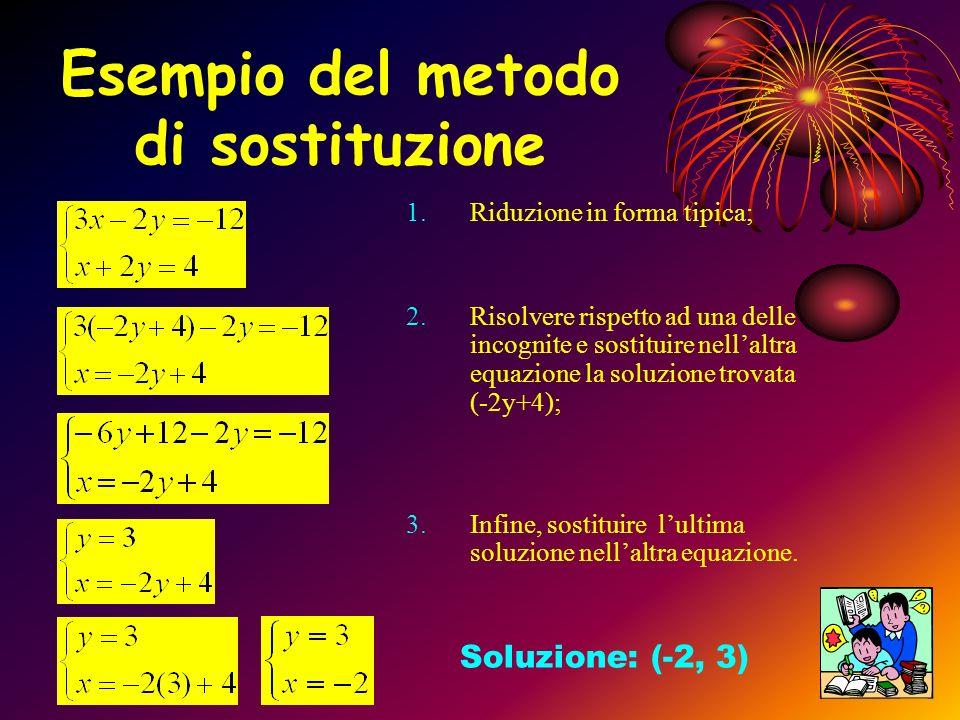METODO DI SOSTITUZIONE Per risolvere un sistema di due o più equazioni lineari si devono seguire i seguenti passi: 1.Si riduce il sistema a forma tipi