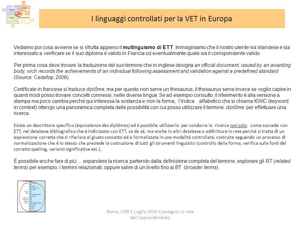 Roma, CNR 1 Luglio 2010 Convegno La rete dell apprendimento I linguaggi controllati per la VET in Europa Vediamo poi cosa avviene se si sfrutta appieno il multinguismo di ETT.