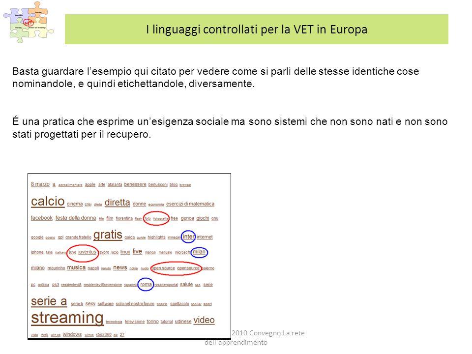 Roma, CNR 1 Luglio 2010 Convegno La rete dell apprendimento I linguaggi controllati per la VET in Europa Basta guardare lesempio qui citato per vedere come si parli delle stesse identiche cose nominandole, e quindi etichettandole, diversamente.