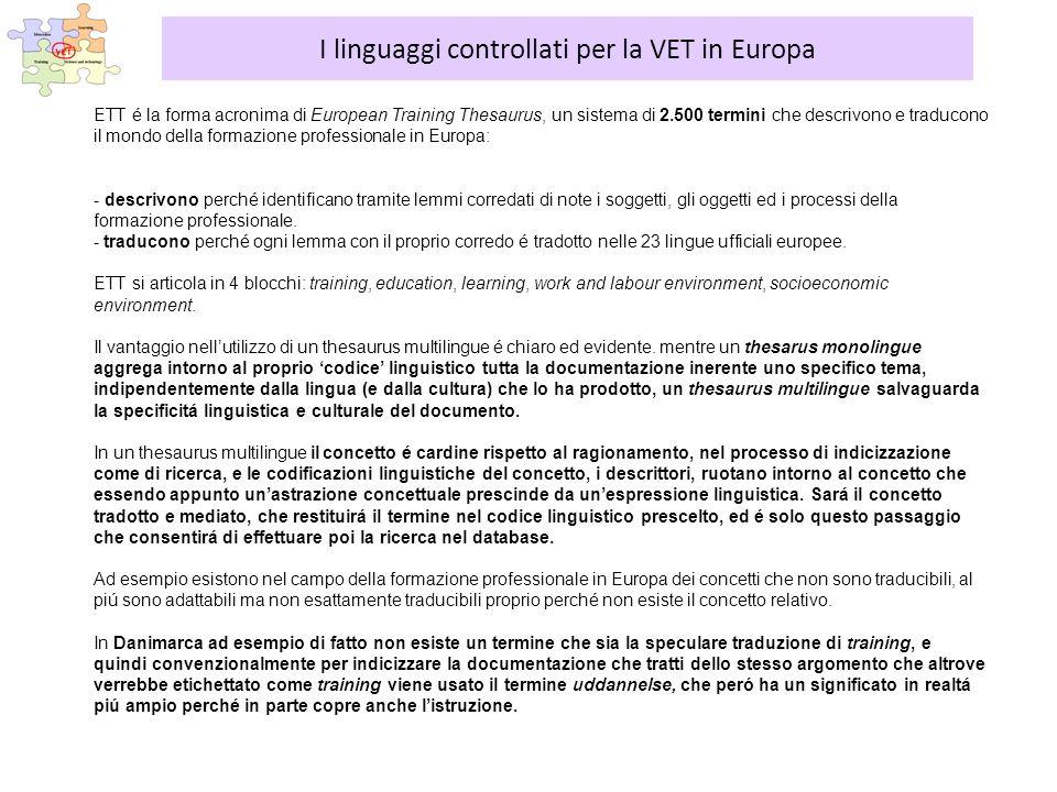 ETT é la forma acronima di European Training Thesaurus, un sistema di 2.500 termini che descrivono e traducono il mondo della formazione professionale in Europa: - descrivono perché identificano tramite lemmi corredati di note i soggetti, gli oggetti ed i processi della formazione professionale.