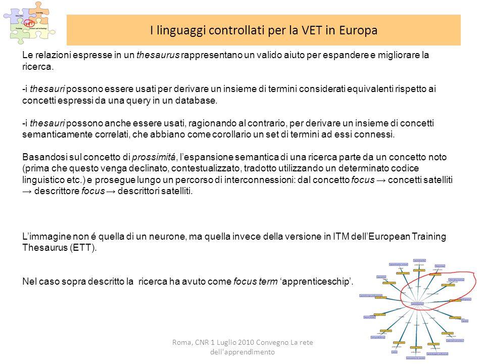 Roma, CNR 1 Luglio 2010 Convegno La rete dell apprendimento I linguaggi controllati per la VET in Europa Le relazioni espresse in un thesaurus rappresentano un valido aiuto per espandere e migliorare la ricerca.