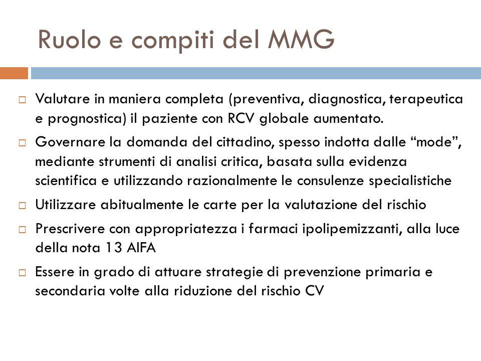 Ruolo e compiti del MMG Valutare in maniera completa (preventiva, diagnostica, terapeutica e prognostica) il paziente con RCV globale aumentato. Gover