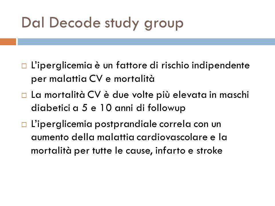 Dal Decode study group Liperglicemia è un fattore di rischio indipendente per malattia CV e mortalità La mortalità CV è due volte più elevata in masch