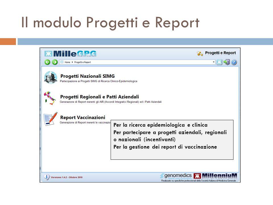 Il modulo Progetti e Report Per la ricerca epidemiologica e clinica Per partecipare a progetti aziendali, regionali o nazionali (incentivanti) Per la