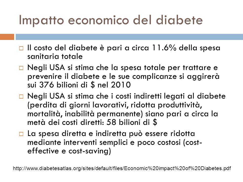Impatto economico del diabete Il costo del diabete è pari a circa 11.6% della spesa sanitaria totale Negli USA si stima che la spesa totale per tratta