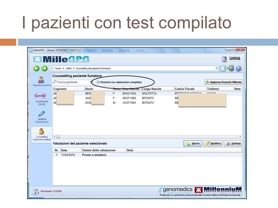 I pazienti con test compilato