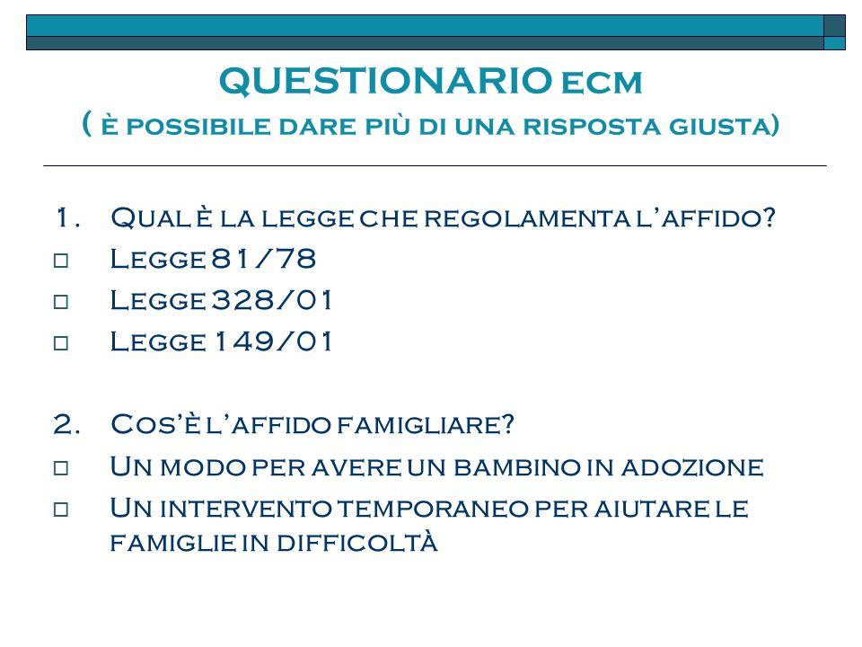 QUESTIONARIO ecm ( è possibile dare più di una risposta giusta) 1.