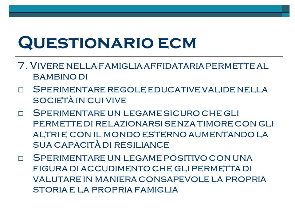 Questionario ecm 7.