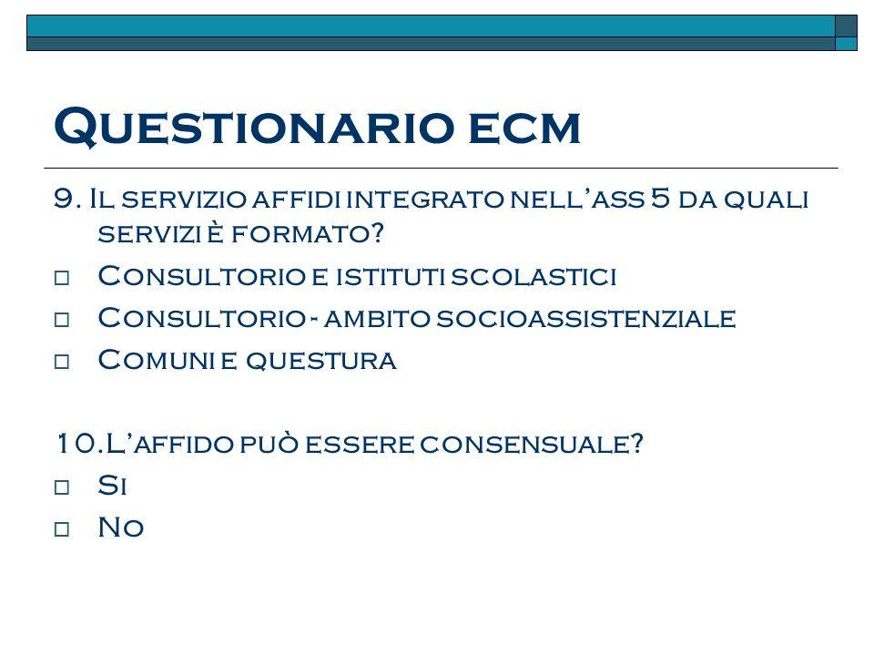 Questionario ecm 9.Il servizio affidi integrato nellass 5 da quali servizi è formato.