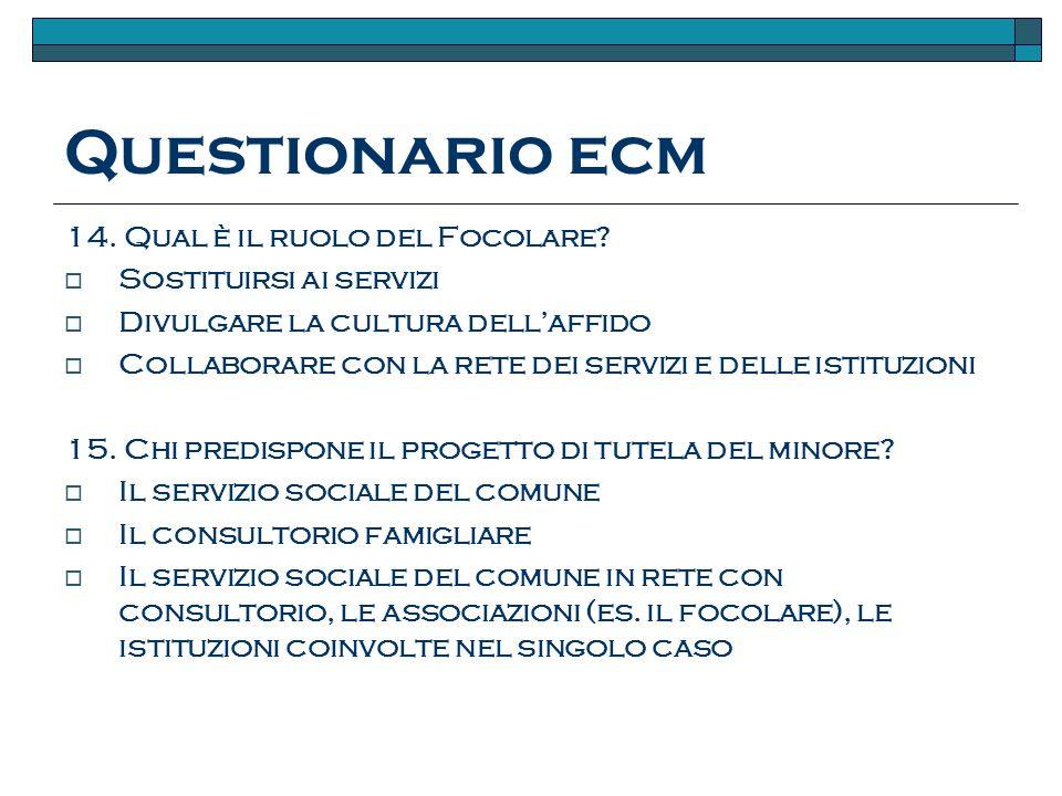 Questionario ecm 14.Qual è il ruolo del Focolare.