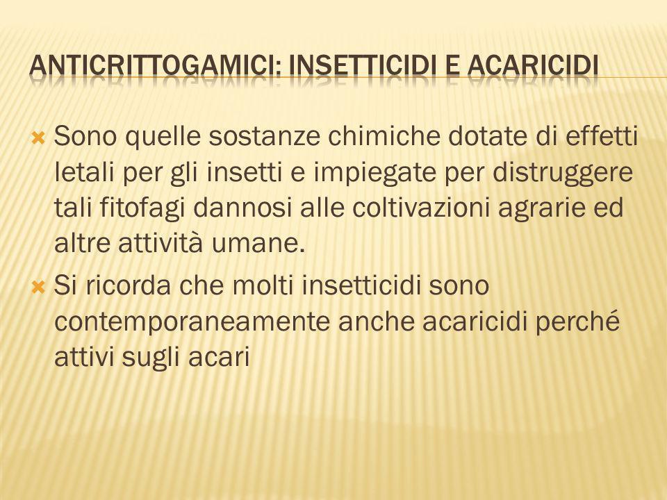 Sono quelle sostanze chimiche dotate di effetti letali per gli insetti e impiegate per distruggere tali fitofagi dannosi alle coltivazioni agrarie ed