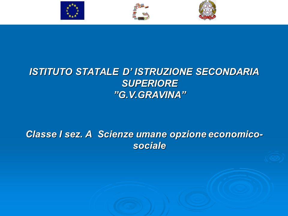 ISTITUTO STATALE D ISTRUZIONE SECONDARIA SUPERIORE G.V.GRAVINA Classe I sez. A Scienze umane opzione economico- sociale