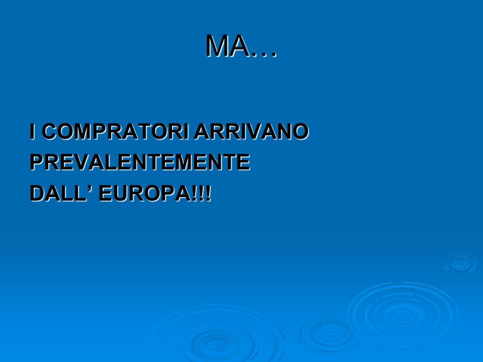 MA… I COMPRATORI ARRIVANO PREVALENTEMENTE DALL EUROPA!!!