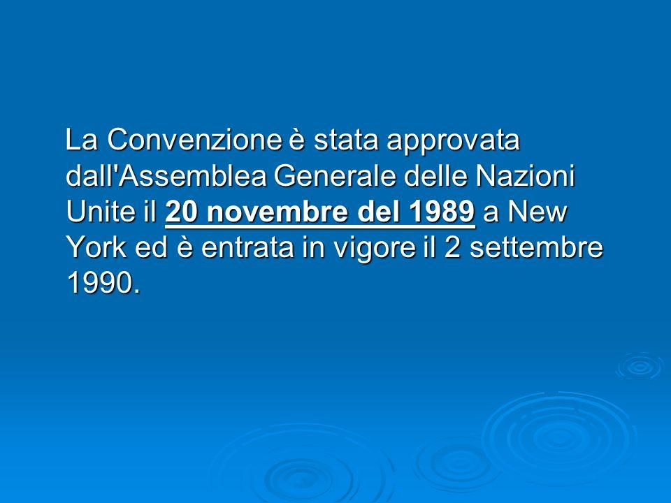 La Convenzione è stata approvata dall'Assemblea Generale delle Nazioni Unite il 20 novembre del 1989 a New York ed è entrata in vigore il 2 settembre