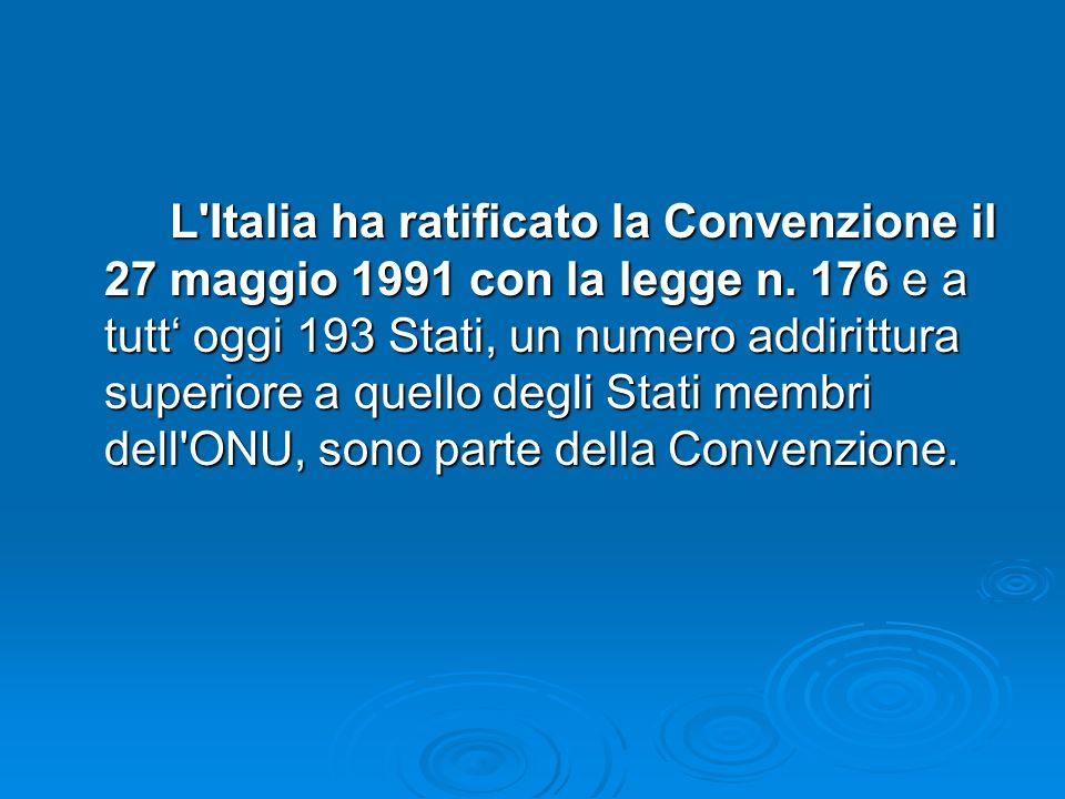 L'Italia ha ratificato la Convenzione il 27 maggio 1991 con la legge n. 176 e a tutt oggi 193 Stati, un numero addirittura superiore a quello degli St