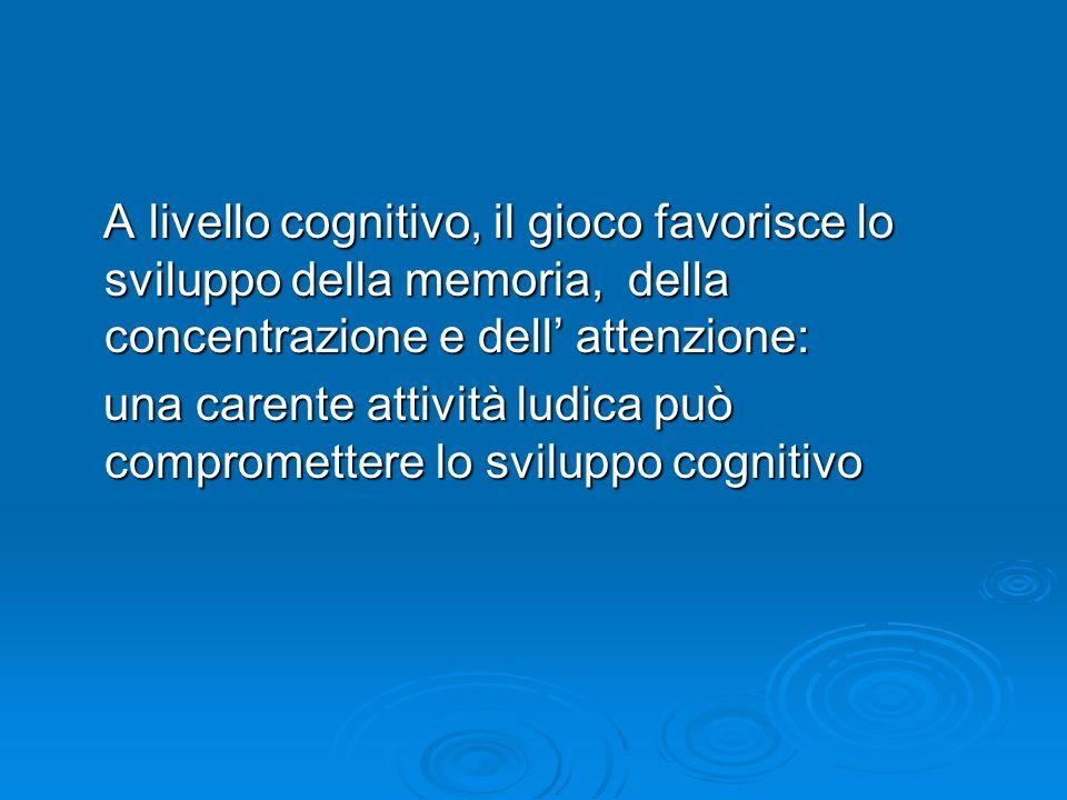 A livello cognitivo, il gioco favorisce lo sviluppo della memoria, della concentrazione e dell attenzione: A livello cognitivo, il gioco favorisce lo