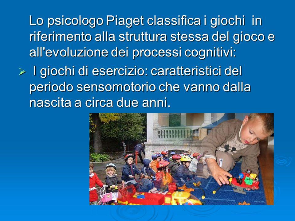 Lo psicologo Piaget classifica i giochi in riferimento alla struttura stessa del gioco e all'evoluzione dei processi cognitivi: Lo psicologo Piaget cl