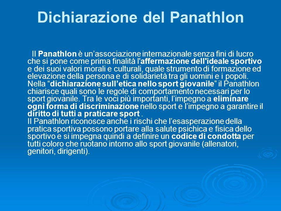 Dichiarazione del Panathlon Il Panathlon è unassociazione internazionale senza fini di lucro che si pone come prima finalità l'affermazione dell'ideal