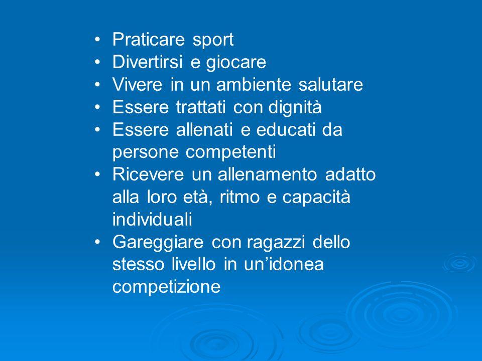 Praticare sport Divertirsi e giocare Vivere in un ambiente salutare Essere trattati con dignità Essere allenati e educati da persone competenti Riceve