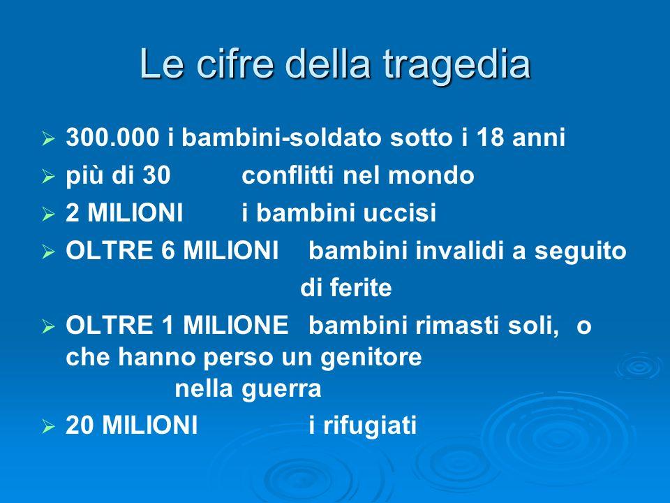Le cifre della tragedia 300.000 i bambini-soldato sotto i 18 anni più di 30 conflitti nel mondo 2 MILIONI i bambini uccisi OLTRE 6 MILIONI bambini inv