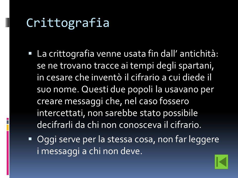 Crittografia La crittografia venne usata fin dall antichità: se ne trovano tracce ai tempi degli spartani, in cesare che inventò il cifrario a cui die