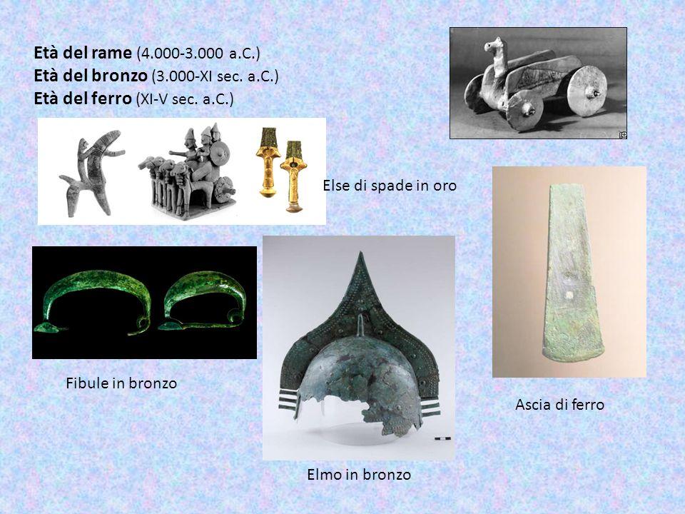 Età del rame (4.000-3.000 a.C.) Età del bronzo (3.000-XI sec. a.C.) Età del ferro (XI-V sec. a.C.) Fibule in bronzo Ascia di ferro Else di spade in or