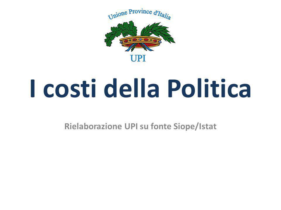 I costi della Politica Rielaborazione UPI su fonte Siope/Istat