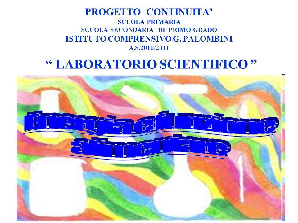 PROGETTO CONTINUITA SCUOLA PRIMARIA SCUOLA SECONDARIA DI PRIMO GRADO ISTITUTO COMPRENSIVO G. PALOMBINI A.S.2010/2011 LABORATORIO SCIENTIFICO