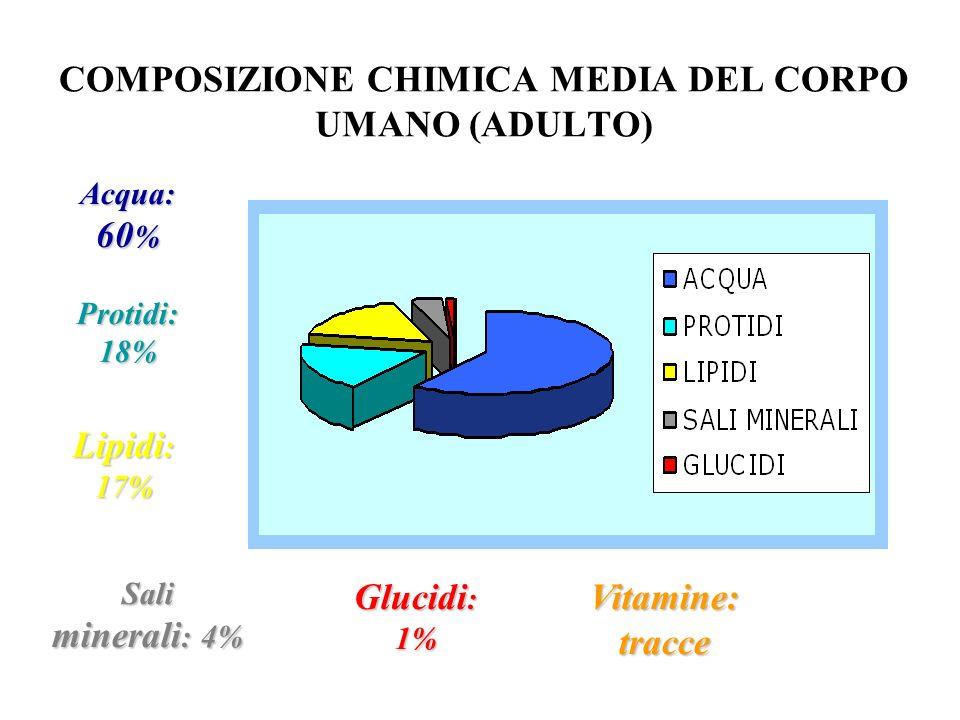 Glucidi : 1% Lipidi : 17% Protidi: 18% Vitamine: tracce Sali minerali : 4% Acqua: 60 % COMPOSIZIONE CHIMICA MEDIA DEL CORPO UMANO (ADULTO)