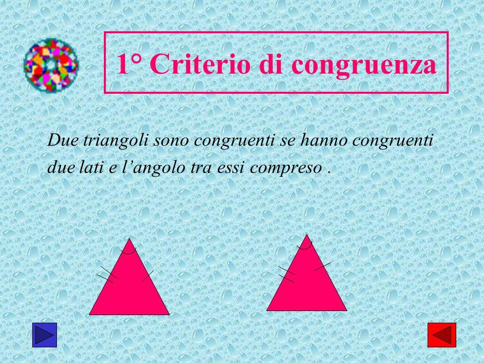 17 1° Criterio di congruenza Due triangoli sono congruenti se hanno congruenti due lati e langolo tra essi compreso.