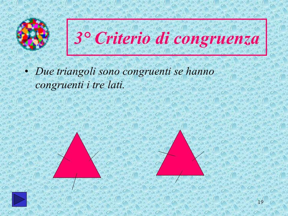 19 3° Criterio di congruenza Due triangoli sono congruenti se hanno congruenti i tre lati.