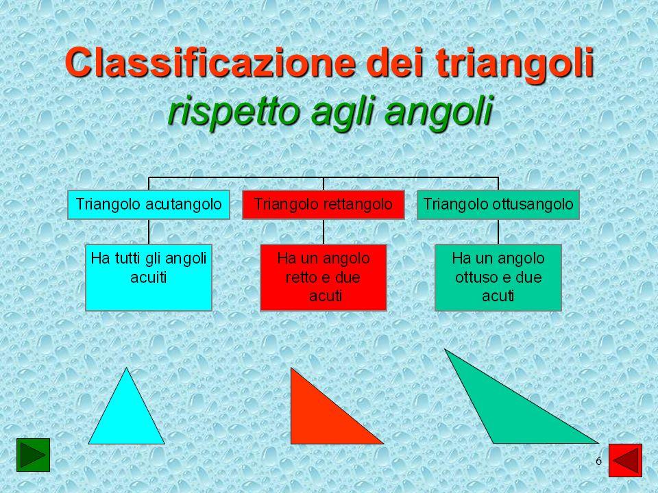 7 Punti notevoli del triangolo Laltezza Eil segmento di perpendicolare condotto da un vertice al lato opposto.