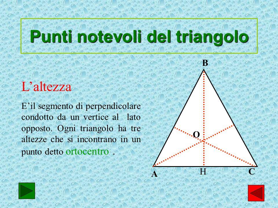7 Punti notevoli del triangolo Laltezza Eil segmento di perpendicolare condotto da un vertice al lato opposto. Ogni triangolo ha tre altezze che si in