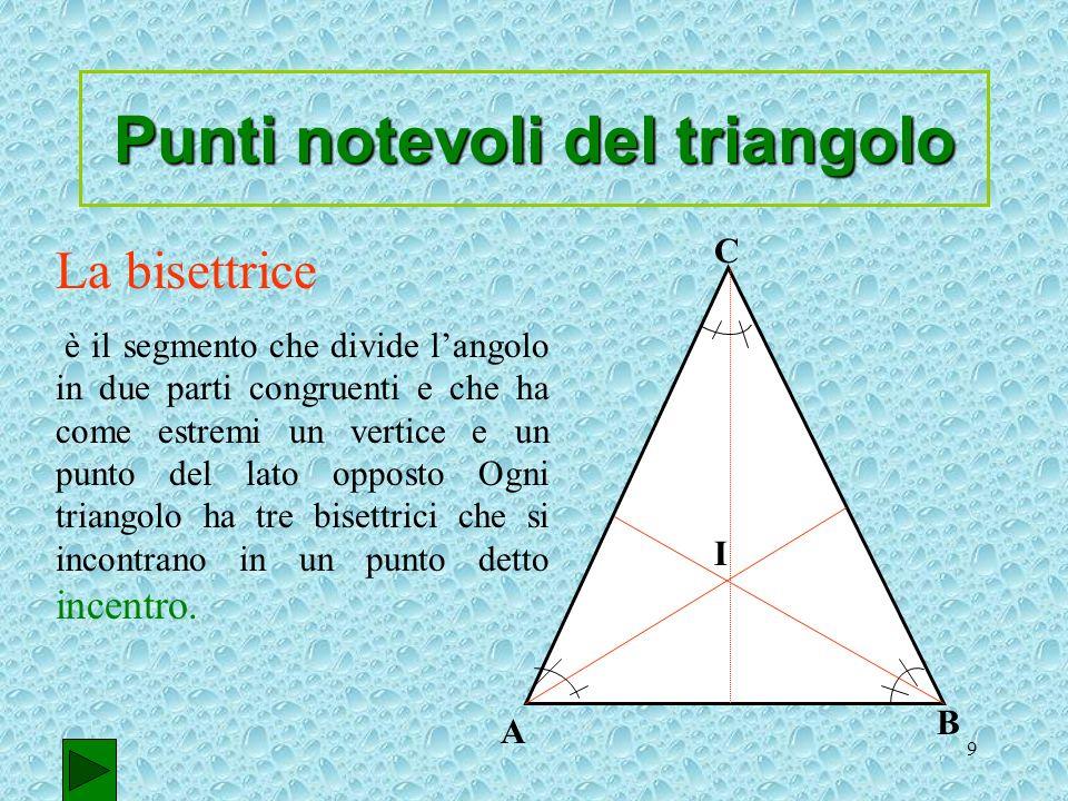 9 La bisettrice è il segmento che divide langolo in due parti congruenti e che ha come estremi un vertice e un punto del lato opposto Ogni triangolo h