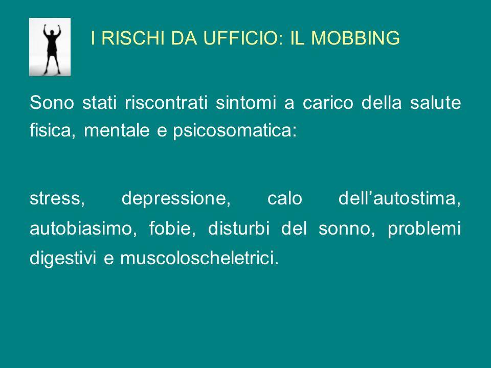 I RISCHI DA UFFICIO: IL MOBBING Sono stati riscontrati sintomi a carico della salute fisica, mentale e psicosomatica: stress, depressione, calo dellau