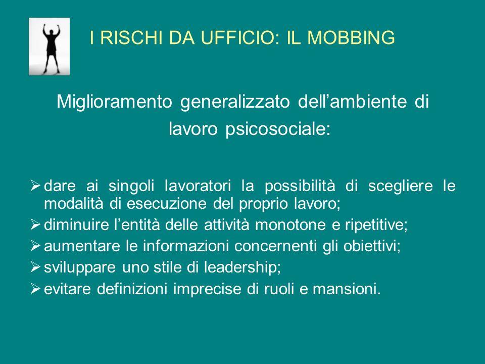 I RISCHI DA UFFICIO: IL MOBBING Miglioramento generalizzato dellambiente di lavoro psicosociale: dare ai singoli lavoratori la possibilità di sceglier