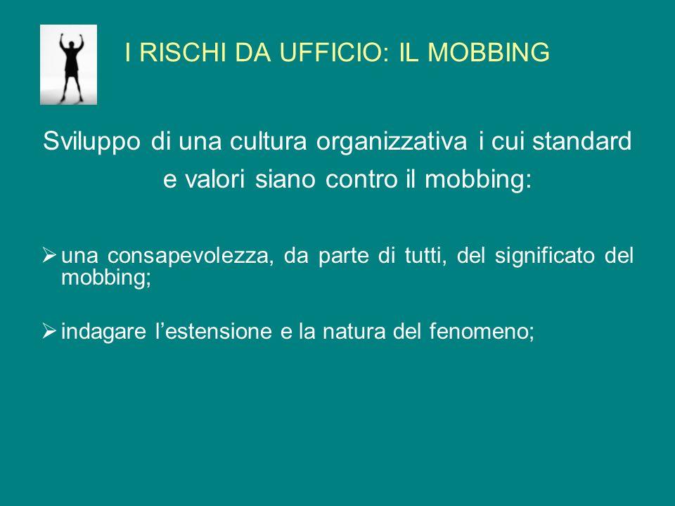 I RISCHI DA UFFICIO: IL MOBBING Sviluppo di una cultura organizzativa i cui standard e valori siano contro il mobbing: una consapevolezza, da parte di