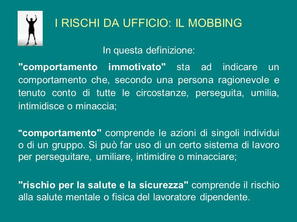 I RISCHI DA UFFICIO: IL MOBBING Il mobbing spesso implica uno sviamento o abuso di potere, nel qual caso la vittima del mobbing può incontrare difficoltà nel difendersi.