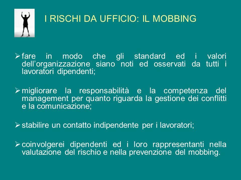 I RISCHI DA UFFICIO: IL MOBBING fare in modo che gli standard ed i valori dellorganizzazione siano noti ed osservati da tutti i lavoratori dipendenti;