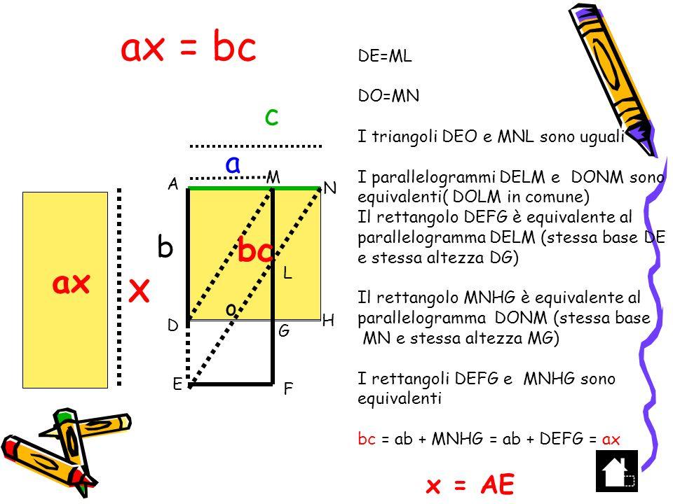 X 2 = C H 1 A B D C X BH 2 = AH HD X 2 = 1 C X =±C D AH=1 HD = C